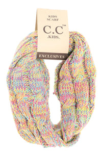 KIDS Multi Tone Cable Knit CC Infinity Scarf