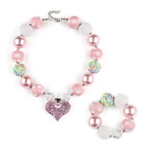 Girl's Chunky Pink & White Bubblegum Necklace  Set