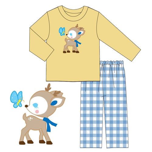 Boy's Baby Deer & Butterfly 2PC Pants Set