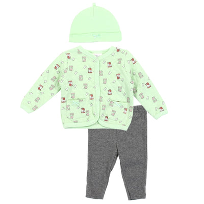 Unisex Newborn 3PC Quilted Jacket Set (Mint Green)