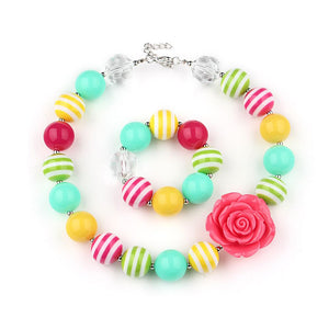Girl's Chunky Spring Rose Bubblegum Necklace  Set