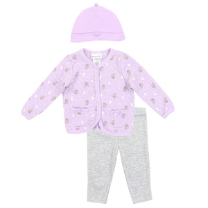 WEEPLAY Girls Newborn 3PC Quilted Jacket Set