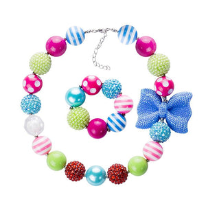Girl's Chunky Polka Dots, Stripes & Bows Bubblegum Necklace Set