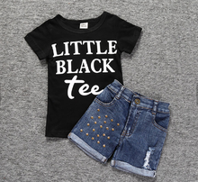 Girl's Little Black Tee Shirt with Denim Shorts