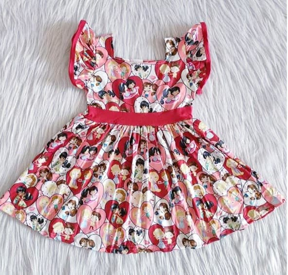 Girl's Princess Love Flutter Twirl Dress
