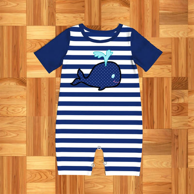 Infant Boy's Blue Whale Romper