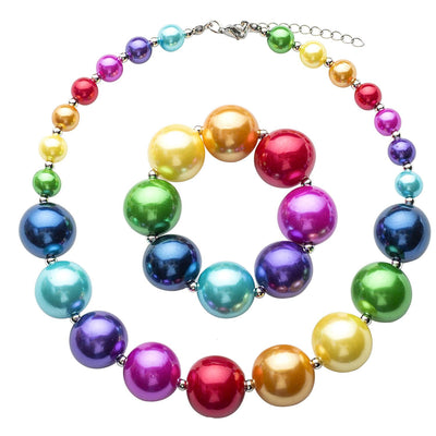 Girl's Chunky Rainbow Bubblegum Necklace & Bracelet Set