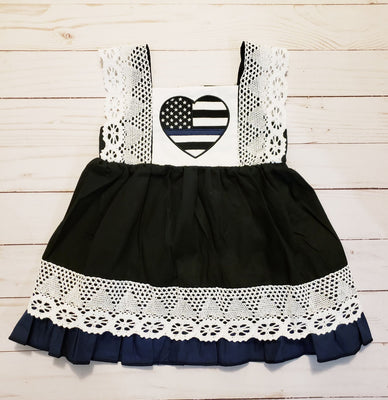 Girls Thin Blue Line Dress