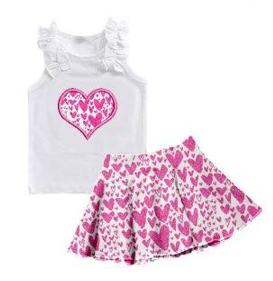 Girl's Pink Hearts 2PC Skirt Set