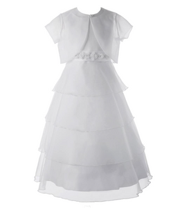 Lauren Madison Girls' Tiered Dress with Jacket - Mia Sophia