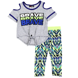 "Girl's ""Brave"" 2PC Legging Set"
