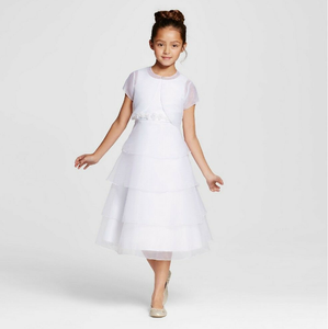 Girl's White Formal Dress  w/Bolero Jacket - Mia Sophia