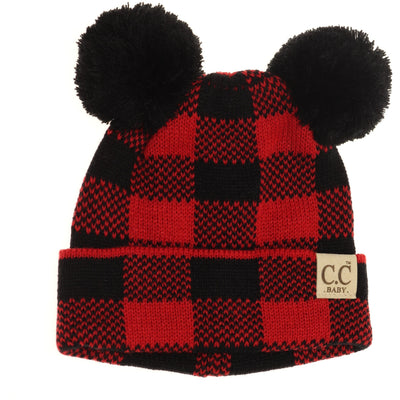BABY BUFFALO PLAID POM POM