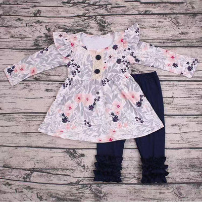 Pink & Grey Floral Tunic 2PC