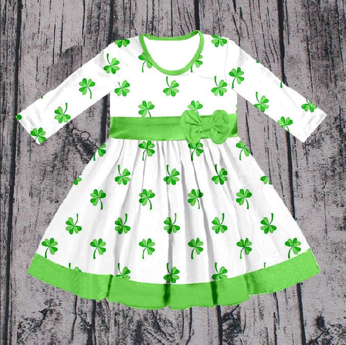Girl's  Lucky Shamrock Twirl Dress