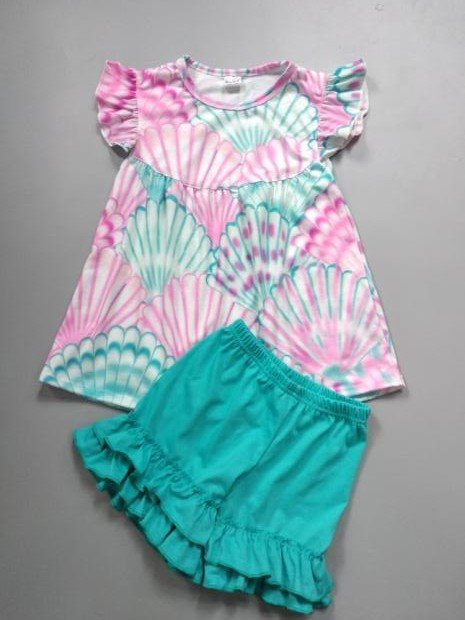 Girl's Pink & Teal Seashell Short Set