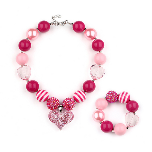 Girl's Chunky Pink Hearts  Bubble Gum Necklace  Set