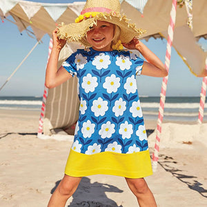 Girl's Blue Floral Short-Sleeved Sun Dress