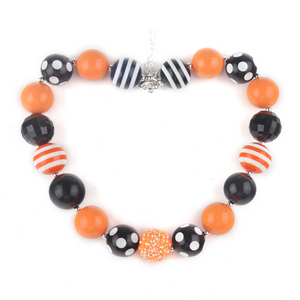 Orange & Black Bubble Gum Chunky Necklace
