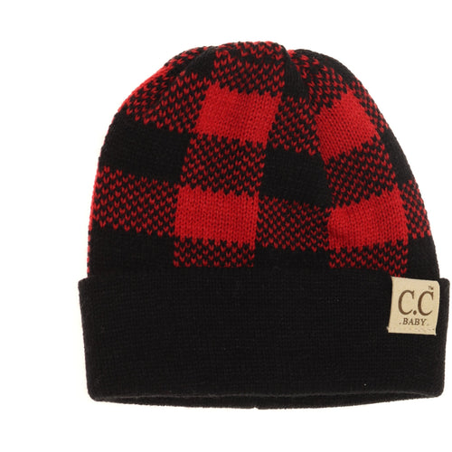 BABY Buffalo Plaid Cuff Beanie