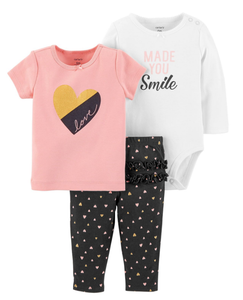 Infant Girl's 3PC Legging Set- Carter's