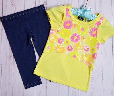 Girl's Flowered 2PC Capri Denim Leggings Set- Yellow