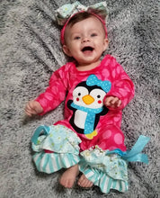 Girl's Penguin Romper w/matching Bow Headband