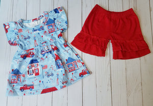Girl's 2PC Fireworks Short Set
