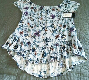 Girl's Blue Floral Peasant Blouse