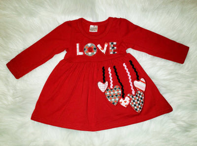 Girls Red #LOVE and Hearts Dress