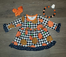 Girl's Navy Pumpkin Dress