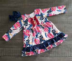Girl's Hot Pink & Navy Floral Twirl Dress