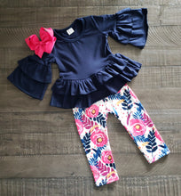 Girl's Hot Pink & Navy Floral 2PC Hi-Lo Tunic Set