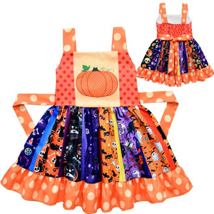 Girl's Halloween Pumpkin Twirl Dress