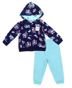 "Girl's ""Flowers & Butterflies"" Microfleece Jacket Set"