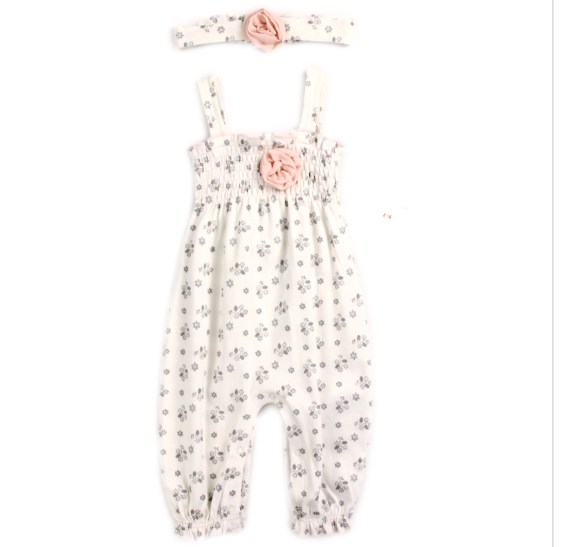 Infant Girl's 2PC Floral Romper Set