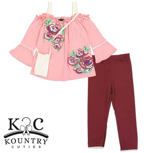 "Girls  ""Rose"" 2PC Legging Set w/ Purse"
