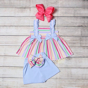 Girl's Dusty Blue Rainbow 2PC Short Set