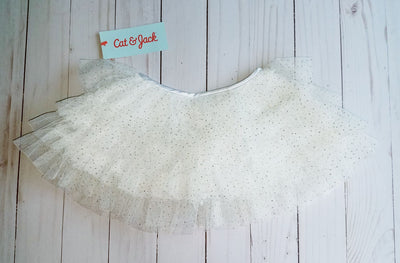 Infant/Toddler Cat & Jack White Glitter Tulle Tutu