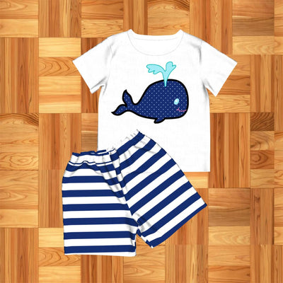 Boy's Blue Whale 2PC Short Set