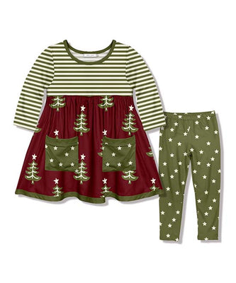 Girl's Green & Burgundy Christmas Tree 2PC Pocket Tunic Set