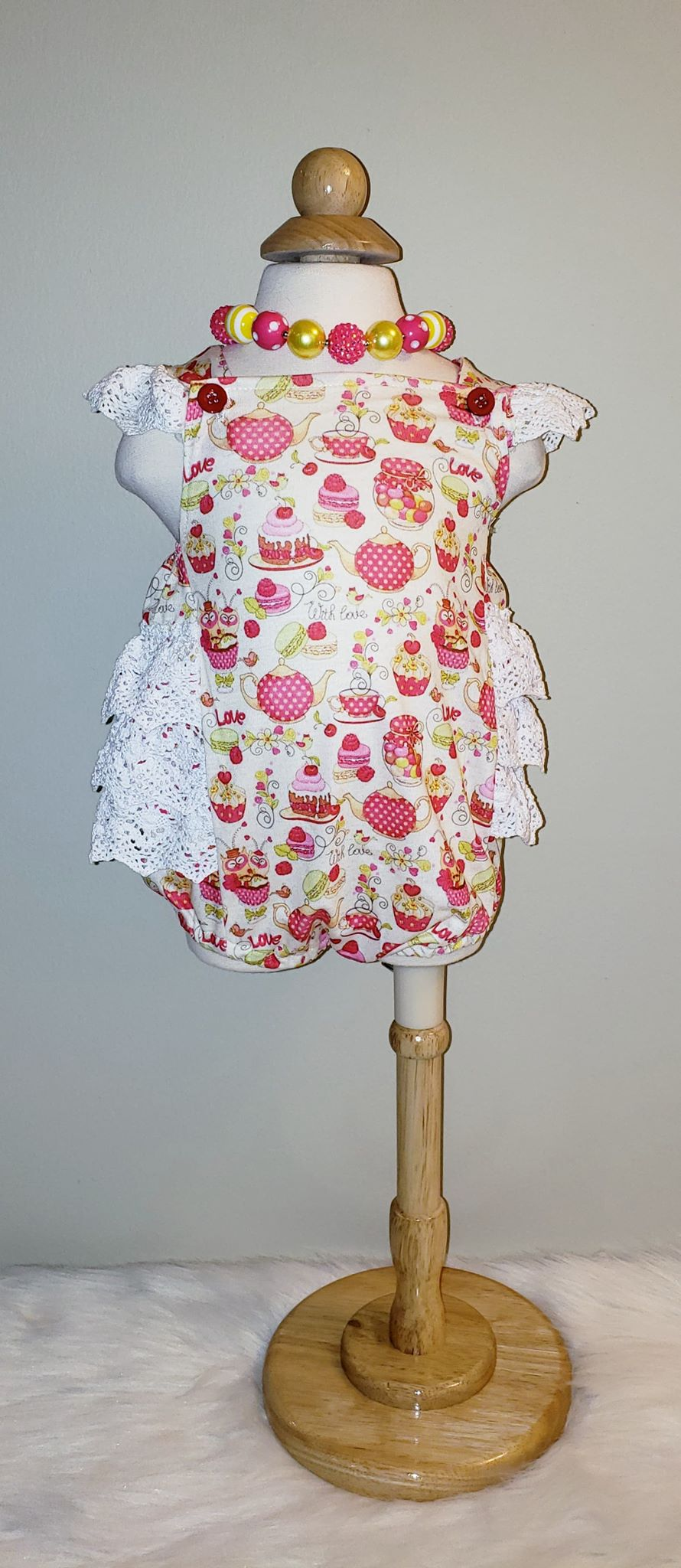 Infant Girl's Sweet Ruffled Macaroon Bubble Romper