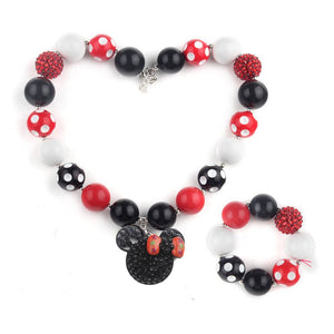 Girl's Chunky Red & Black Minnie Mouse Bubblegum Necklace & Bracelet Set