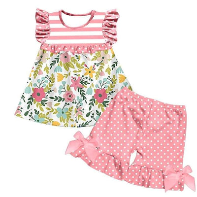 Girl's Pink Floral Polka Dot Short Set