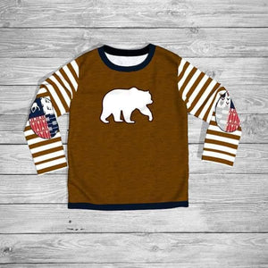 Boy's Patchwork Bear Raglan Tee