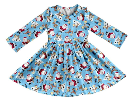 Girl's Santa & Friends Christmas Twirl Dress