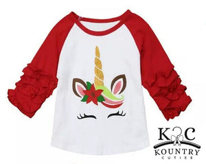 Girl's Unicorn  Raglan Tee