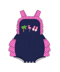 Infant Girl's Flamingos & Flip Flops Bubble Romper