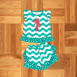 Girl's Teal Seahorse 2PC Short Set