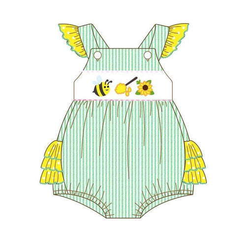 Infant Girl's Bumble Bee & Honey Romper